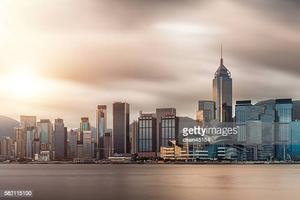 Hong kong city in sunrise during shopping sale season in Kowloon, Hong kong