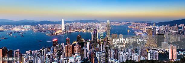 Hong Kong City Skyline and Harbour at Sunset China