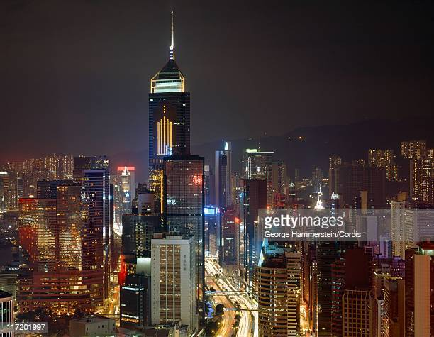 hong kong city skyline at night, china - hong kong stock pictures, royalty-free photos & images