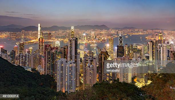 Hong Kong City Skyline at Night Panorama