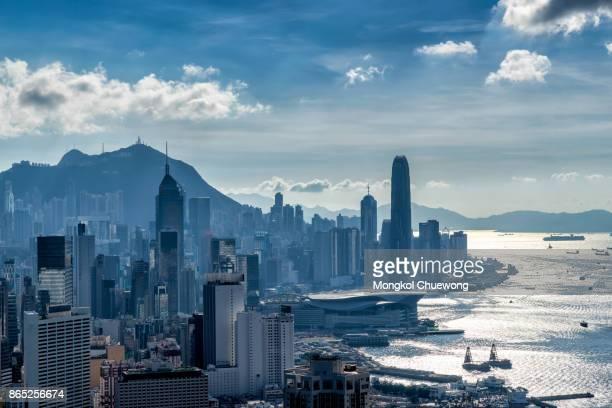 Hong Kong City skyline before sunset. View from Braemar hill Hongkong.
