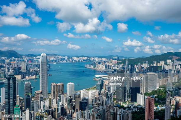 hong kong city skyline - hong kong stock pictures, royalty-free photos & images