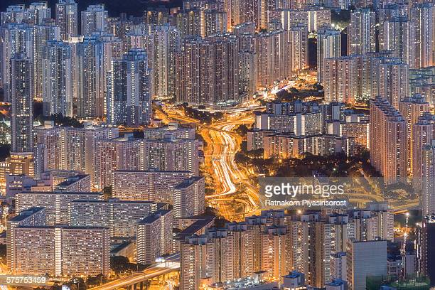 Hong Kong city top view look from Lion Rock hill
