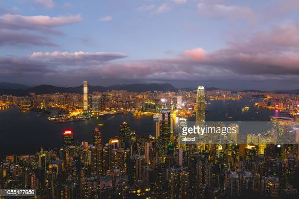 Hong Kong city urban skyline view dusk