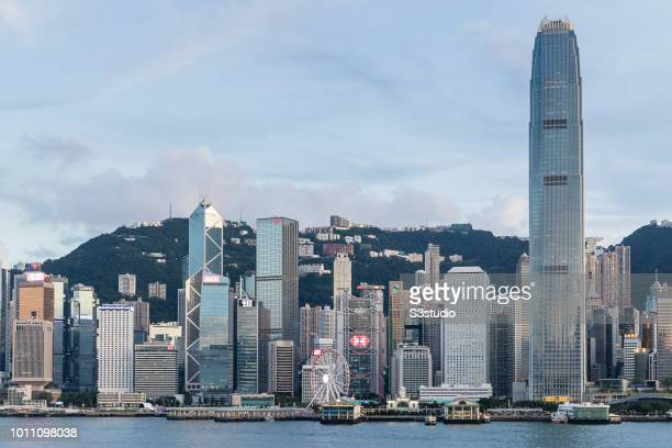 Hong Kong cityline with Bank of China Tower Cheung Kong Center HSBC Main Building International Finance Centre and others on July 31 2018