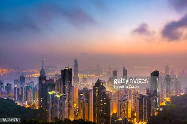 hong kong cityscape and skyline view from victoria peak - hongkong 個照片及圖片檔