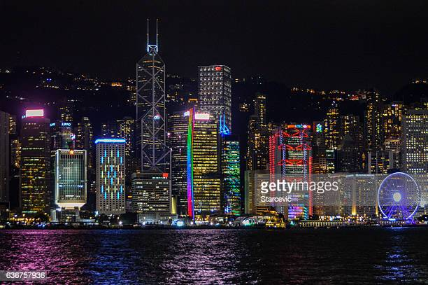 hong kong cityscape at night - tsim sha tsui stock pictures, royalty-free photos & images