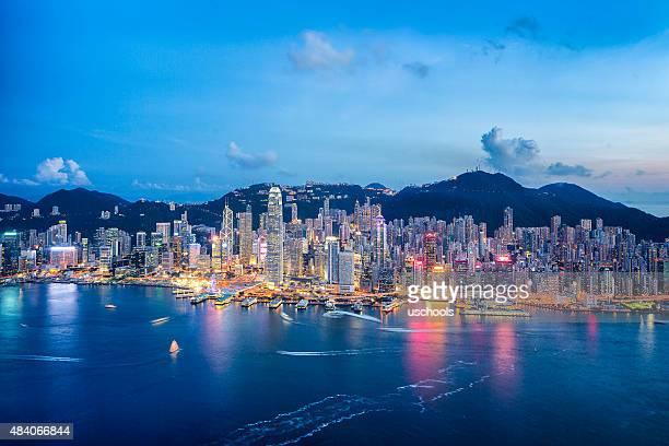Paisagem Urbana de Hong Kong de ar (Panorama XXL