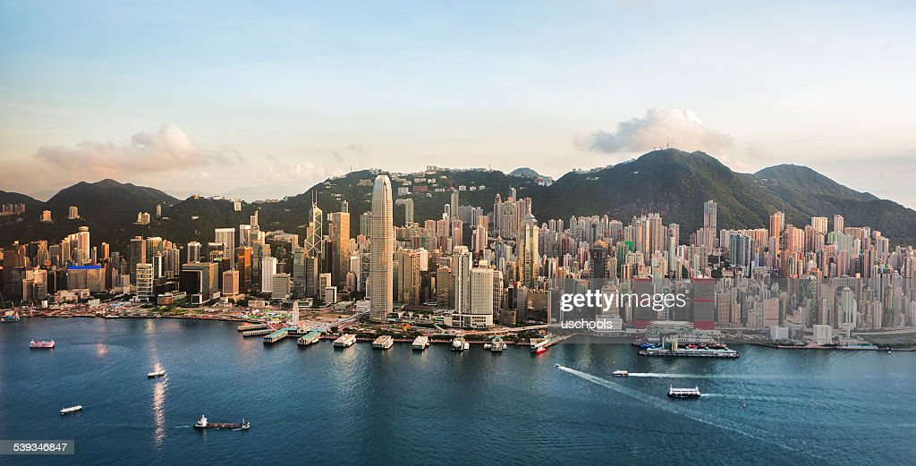 Hong Kong Cityscape in a Good Day (Panorama XL) : Stock Photo