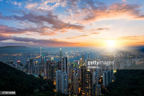 hong kong cityscape - hong kong victoria harbour stock pictures, royalty-free photos & images