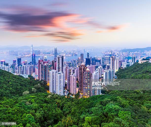 hong kong cityscape - hong kong stock pictures, royalty-free photos & images