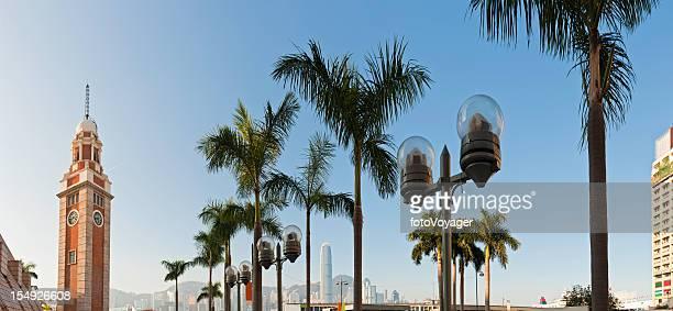 hong kong clock tower ferry terminal tsim sha tsui china - koloniale stijl stockfoto's en -beelden