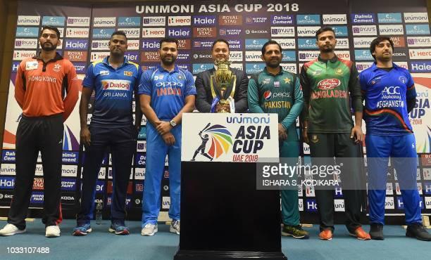 Hong Kong cricket team captain Anshuman Rath Sri Lankan cricket team captain Angelo Mathews Indian cricket team captain Rohit Sharma Pakistan cricket...