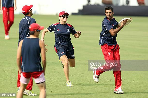 Hong Kong cricket team captain Tanvir Afzal takes part in a training session ahead of the forthcoming Cricket World Cup T20 tournament at the...