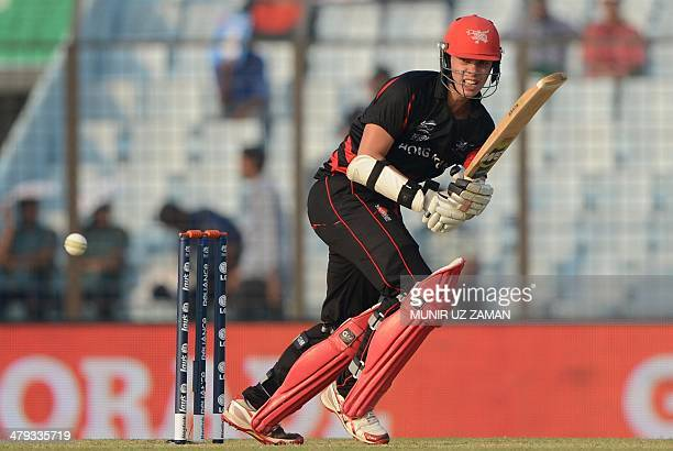 Hong Kong cricketer Mark Chapman plays a shot during the ICC Twenty20 World Cup fifth qualifying cricket match between Hong Kong and Afghanistan at...
