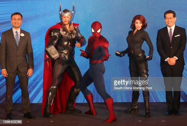 Hong Kong Disneyland Resort Executive Vice President and Managing Director Samuel Lau Wingkee Marvel characters Thor SpiderMan Black Widow and Hong...