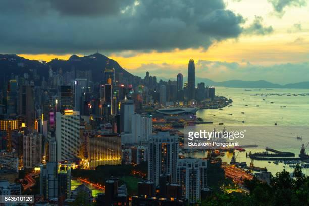 Hong Kong downtown and building at sunset