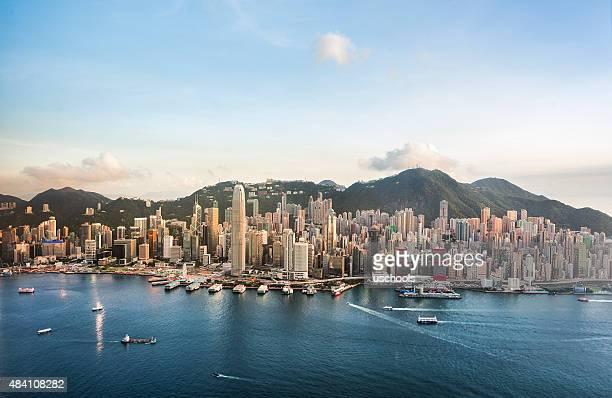 Estação do centro da cidade de Hong Kong com um bom dia (Panorama XXXL