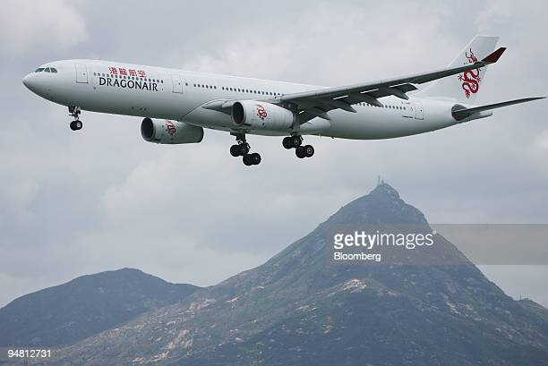 Hong Kong Dragon Airlines Airbus A330 plane is seen on approach to Hong Kong International Airport in Hong Kong China on Tuesday April 11 2006 Citic...