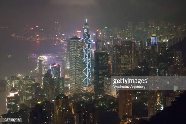 hong kong dramatic panorama at night - argenberg stock pictures, royalty-free photos & images