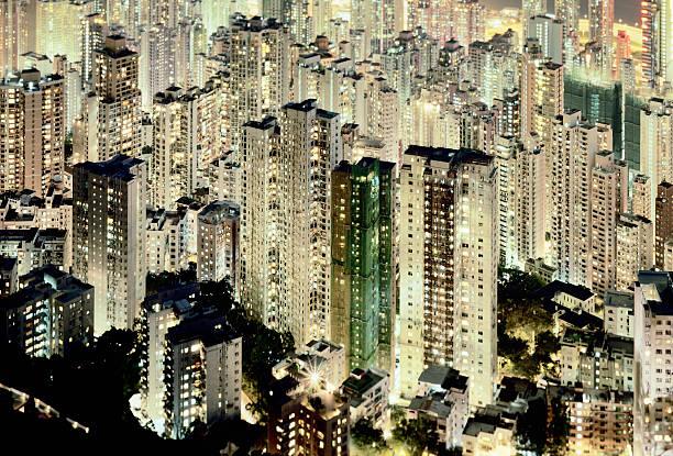 Hong Kong, elevated view of apartment blocks