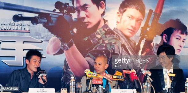 Hong Kong entertainer Edison Chen director Dante Lam and Taiwanese actor Richie Jen attend a press conference for the movie The Sniper in Singapore...