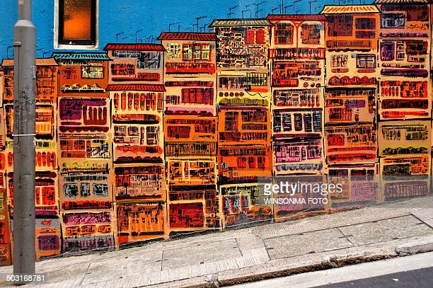 hong kong facade road - street art stock pictures, royalty-free photos & images