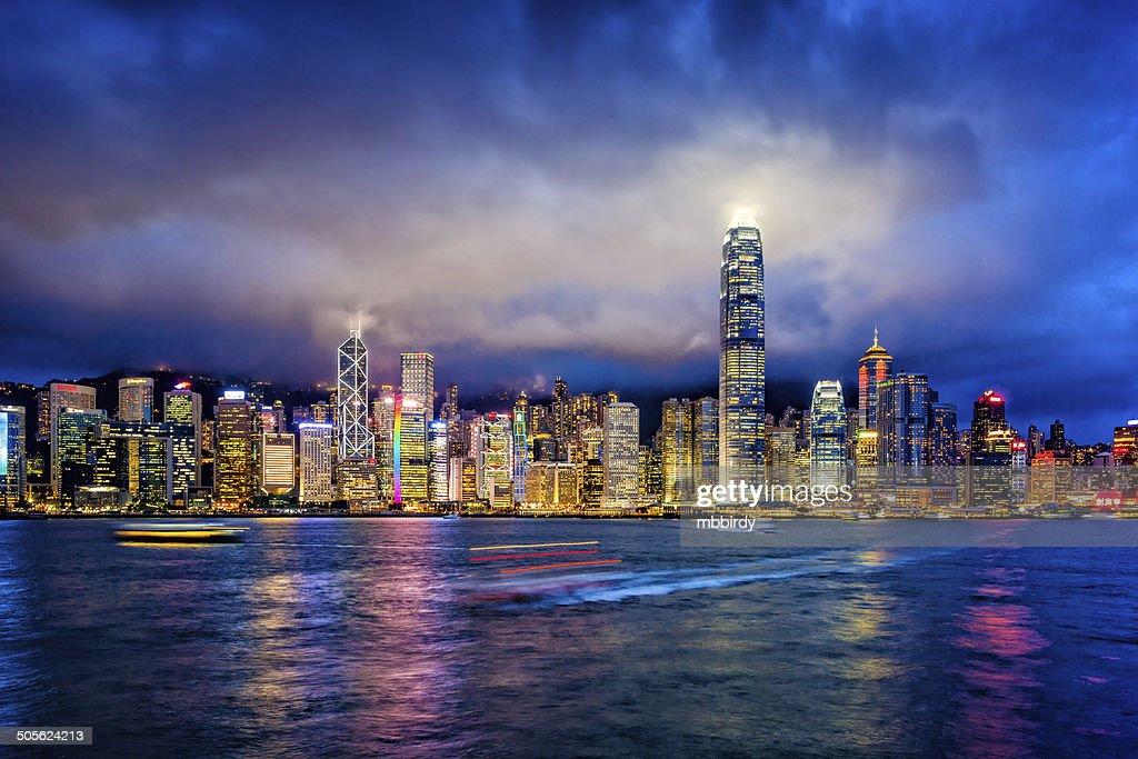 Hong Kong financial district at twilight : Stock Photo