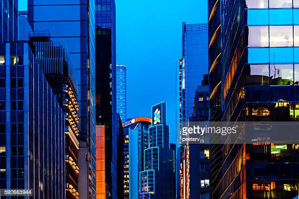 Hong Kong financial district by night.