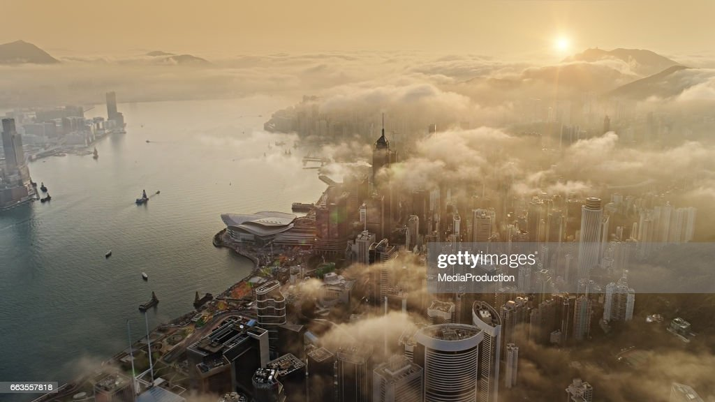 Hong Kong from air at sun rise : Stock Photo