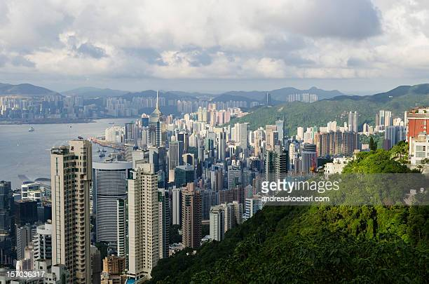 Hong Kong from Victoria Peak with Mountains