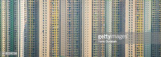 Hong Kong frontages buildings, urban density in Asia.