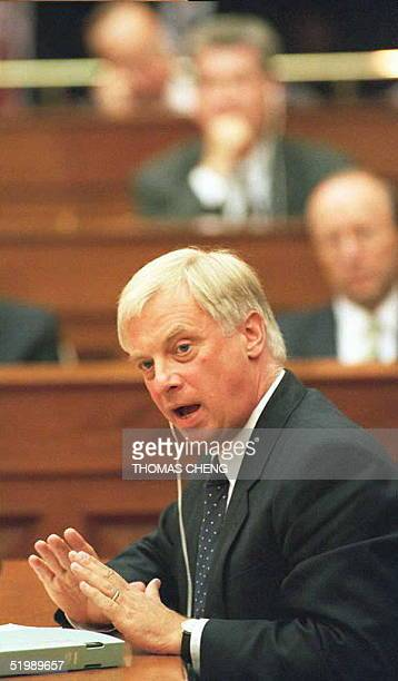 Hong Kong Governor Chris Patten addresses the Legislative Council and answers questions from members at a special sitting 13 July The Governor...