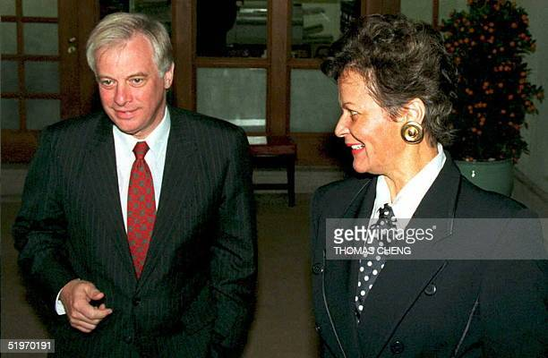 Hong Kong Governor Chris Patten and US Secretary of Energy Hazel O'Leary during the latter's courtesy call to the Governor's Mansion in Hong Kong 17...
