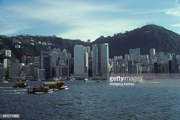 Hong Kong Harbor With Victoria Peak Background