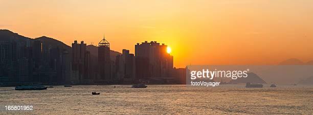 Hong Kong Harbour sunset panorama China