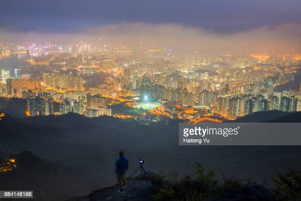 Hong Kong. High angle view of fog-covered nightscape.