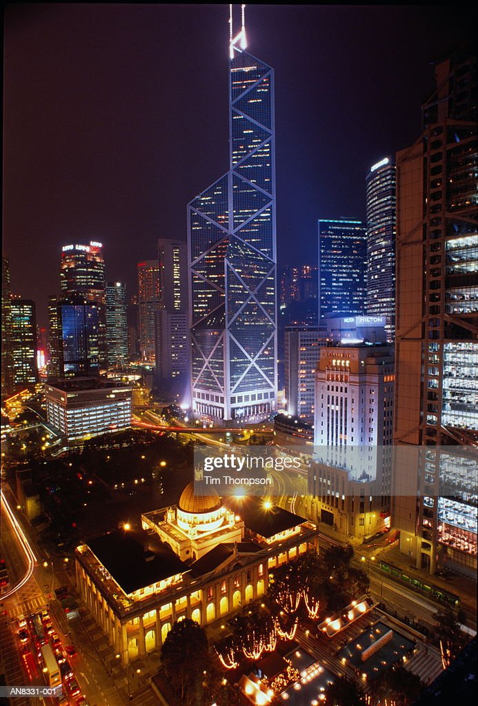 Hong Kong, Hong Kong Island, Central at night, elevated view : Stock Photo