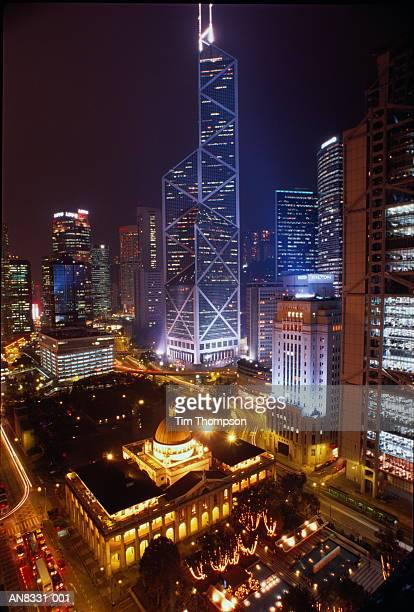 Hong Kong, Hong Kong Island, Central at night, elevated view