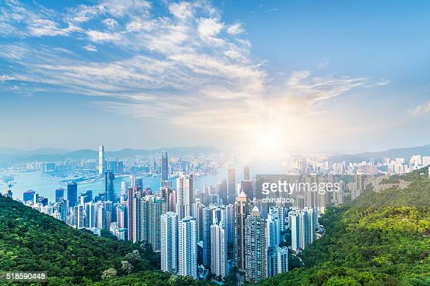 hong kong in sunset