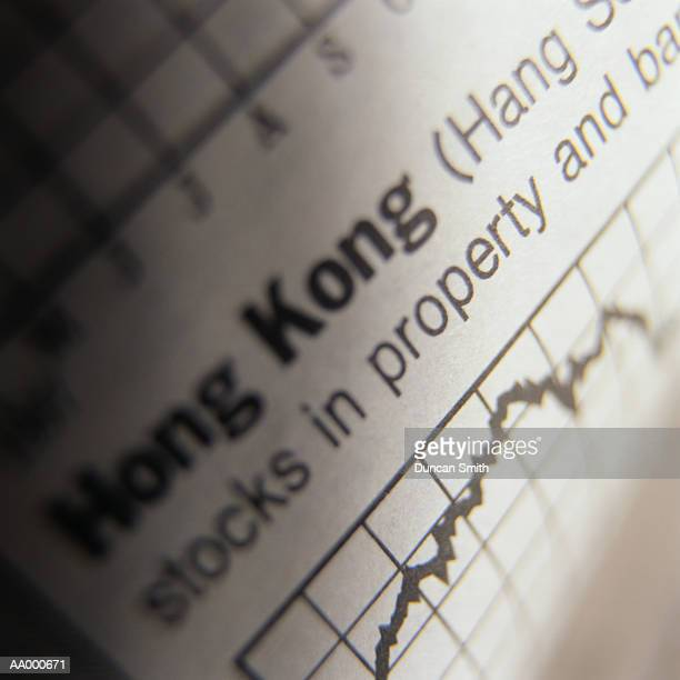 hong kong index chart on the financial page - hang seng index stock pictures, royalty-free photos & images