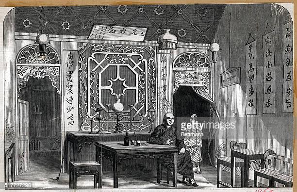 Interior of a Chinese house at Hong Kong Undated illustration