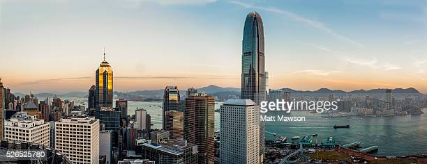 hong kong island cityscape - two international finance center stock pictures, royalty-free photos & images