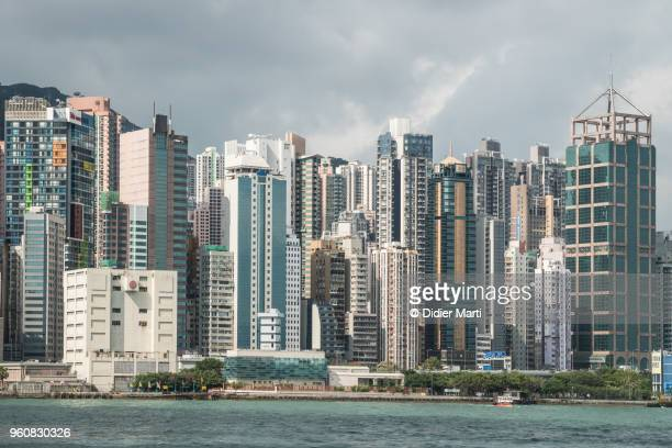 Hong Kong island cityscape with a very high density of apartment block