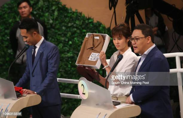 Hong Kong Island Election candidates Gary Wong Chi-him, Erica Yuen Mi-ming and Christopher Lau Gar-hung attend Videotaping of RTHK LegCo Election...