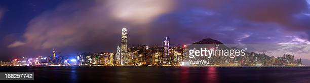 Hong Kong Island super panorama night scene