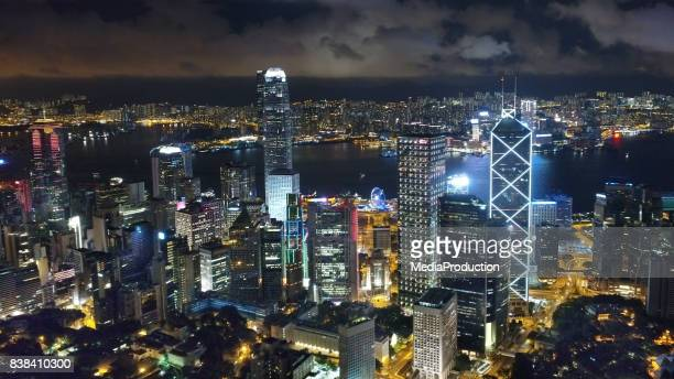 Hong Kong Island Victoria harbour and Kowloon aerial