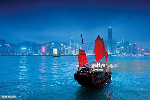 Hong Kong junk boat and skyline
