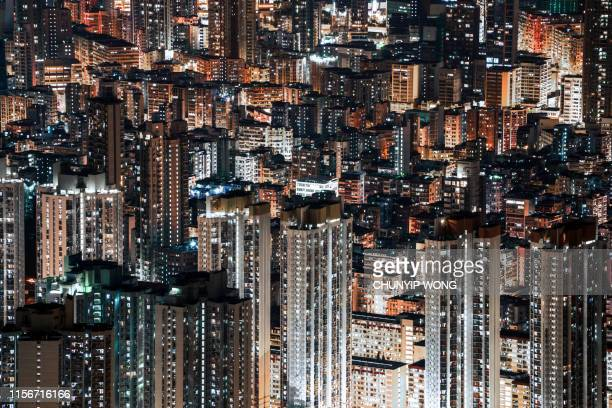hong kong kowloon city skyline - slum stock pictures, royalty-free photos & images