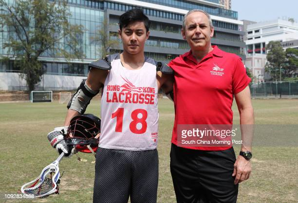 Hong Kong Lacrosse men team Joey Au Yeung Chunyu and coach Robert Marshall Bent pose for a picture at Club De Recreio in King's Park Yau Ma Tei...